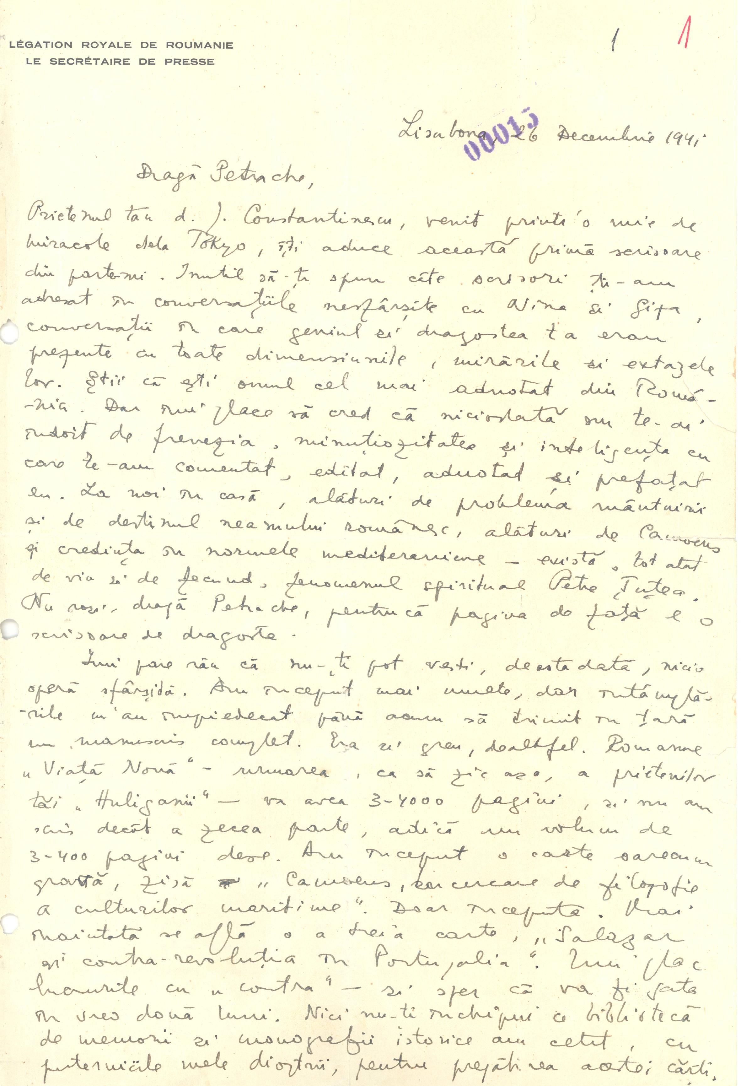 Scrisoare Eliade f.01r