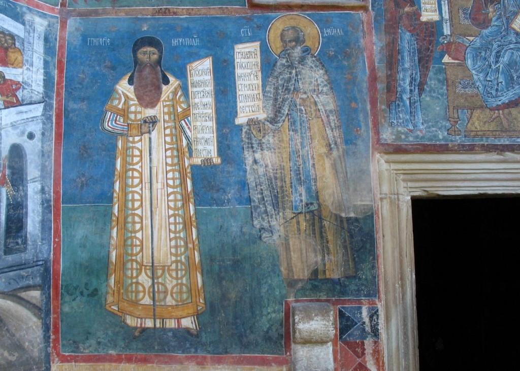 Sf. Daniil Sihastrul şi Mitropolitul Grigorie Roşca (frescă de la Mănăstirea Voroneţ)
