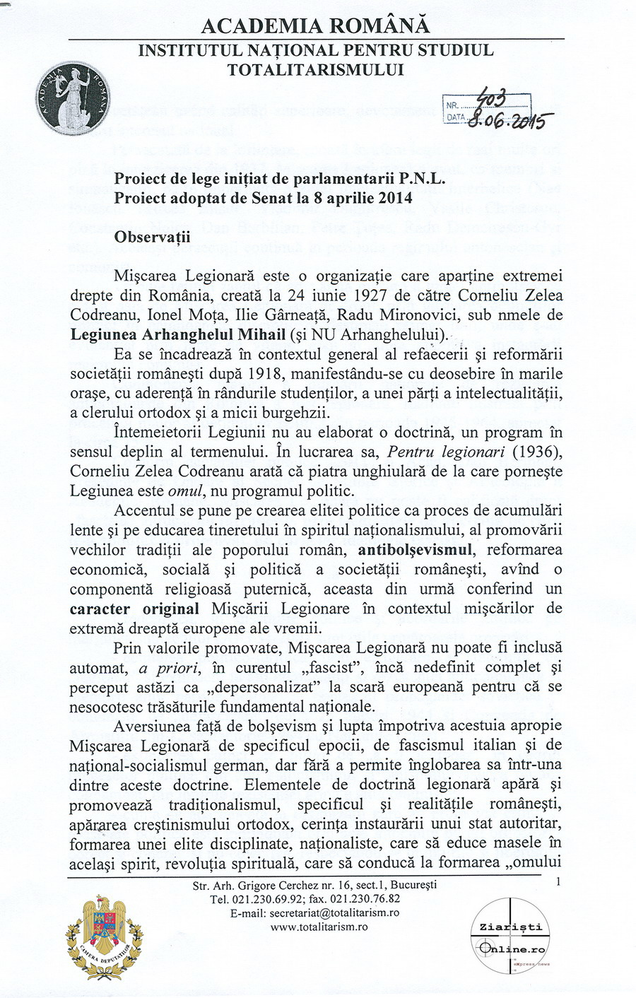 Academia-Romana-INST-despre-Miscarea-Legionara-01-Iunie-2015-Camera-Deputatilor-Ziaristi-Online
