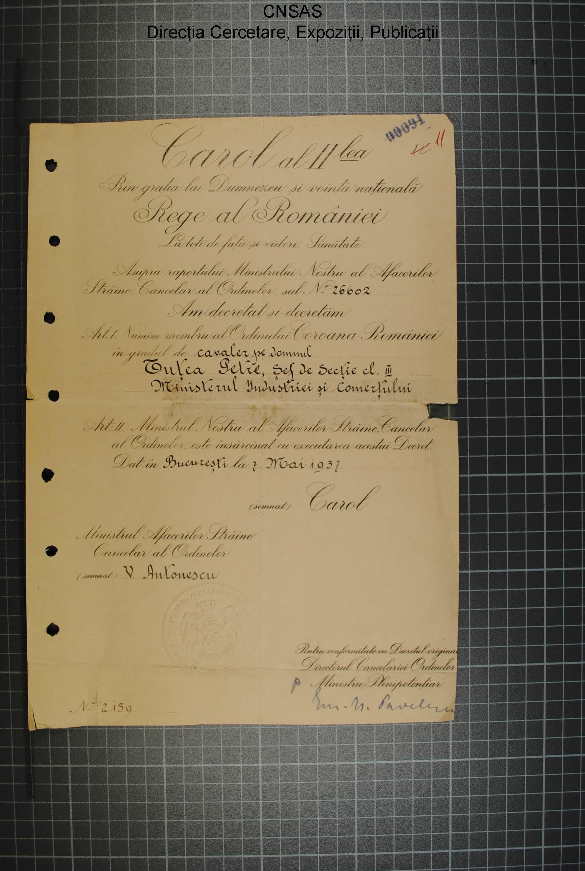 p.015 dosar Petre Tutea.diploma Coroana României în grad de cavaler.7.mai.1937.regele Carol al II-lea