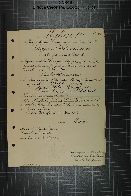 p.016 dosar Petre Ţuţea.diploma Steaua României în grad de cavaler.9.mai.1941.regele Mihai+mareşalul Antonescu