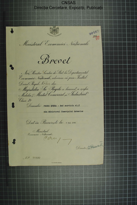 p.019 dosar Petre Ţuţea.diploma Meritul comercial şi industrial cl.I.9.mai.1940.regele Carol al II-lea