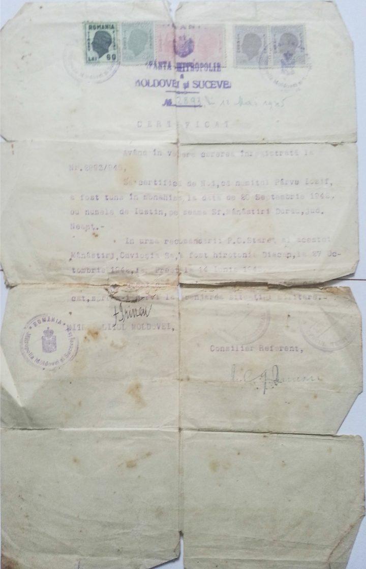 Act oficial al Bisericii Ortodoxe Române, doveditor al hirotoniei Părintelui Justin Pârvu