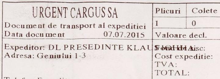 Confirmare de primire a scrisorii Mănăstirii Petru Vodă către Preşedintele României, Klaus Iohannis